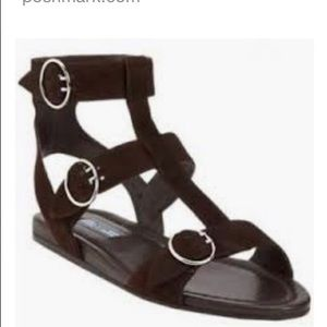 PRADA Black suede gladiator sandals